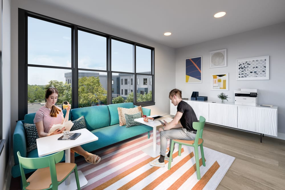 Study spaces at LATITUDE on Hillsborough in Raleigh, North Carolina