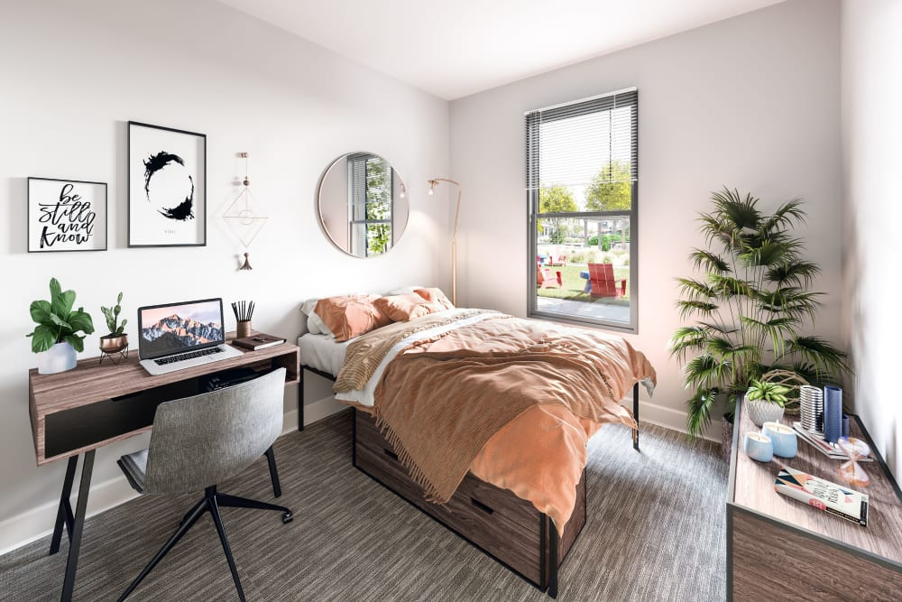 Bright, spacious bedroom at LATITUDE on Hillsborough in Raleigh, North Carolina