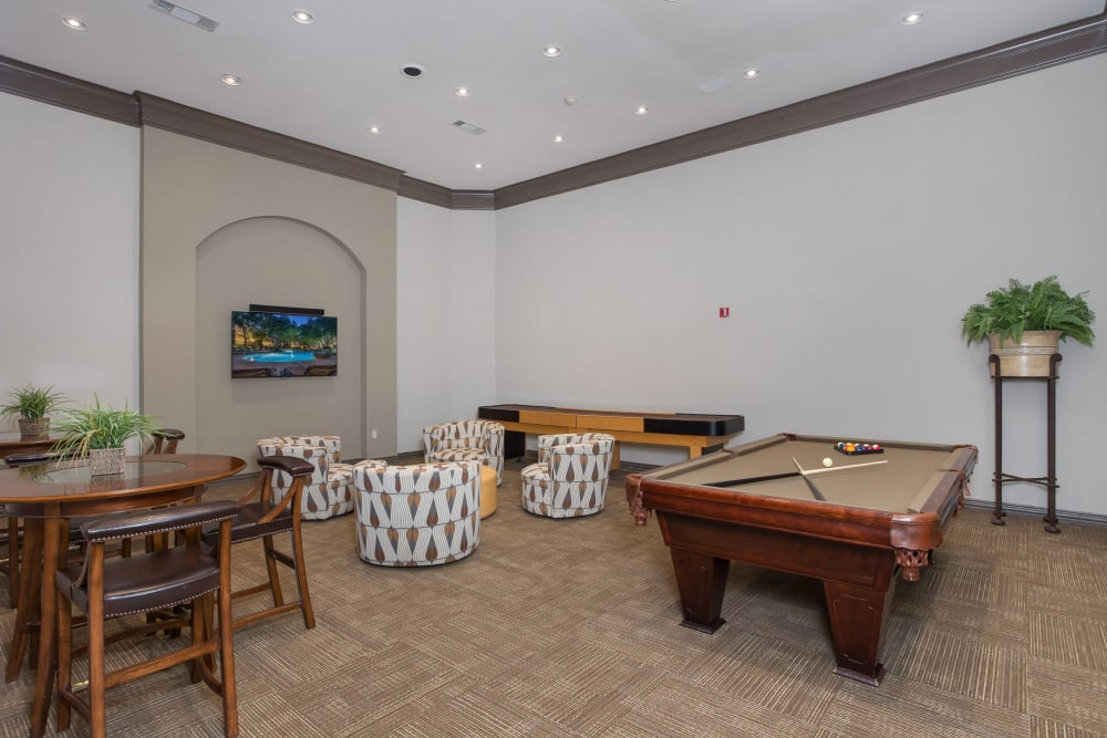 Resident game room at The Verandas at Timberglen in Dallas, Texas