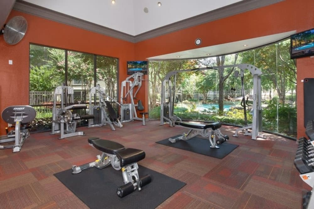 State-of-the-art fitness center at The Verandas at Timberglen in Dallas, Texas