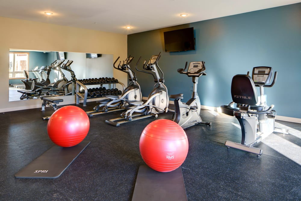 Resident gym with individual workout stations at Remington Cove Apartments in Apple Valley, Minnesota