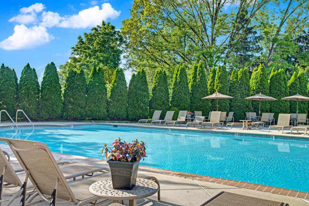 Outdoor community swimming pool at Exton Crossing in Exton, Pennsylvania