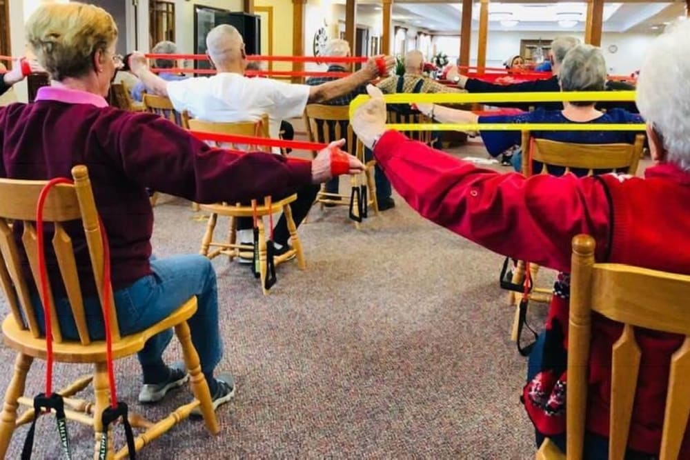 Resident exercise class at Prairie Hills Independence in Independence, Iowa.