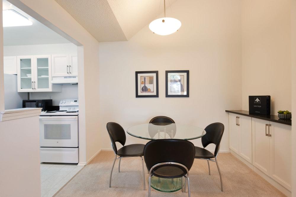 Dining nook adjacent to model kitchen at Citation Club in Farmington Hills, Michigan