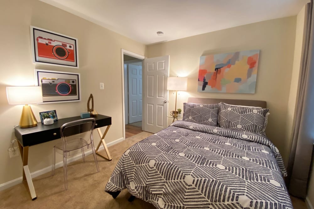 Bedroom at Abbotts Run Apartments in Alexandria, Virginia.