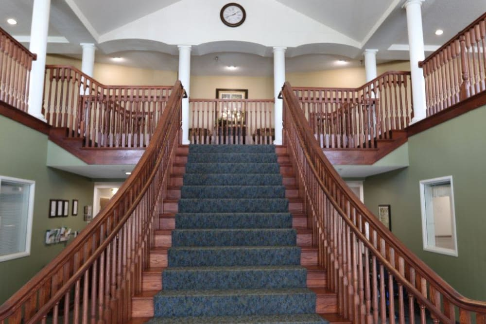 Stairs leading to the second floor inside Keelson Harbour in Spirit Lake, Iowa