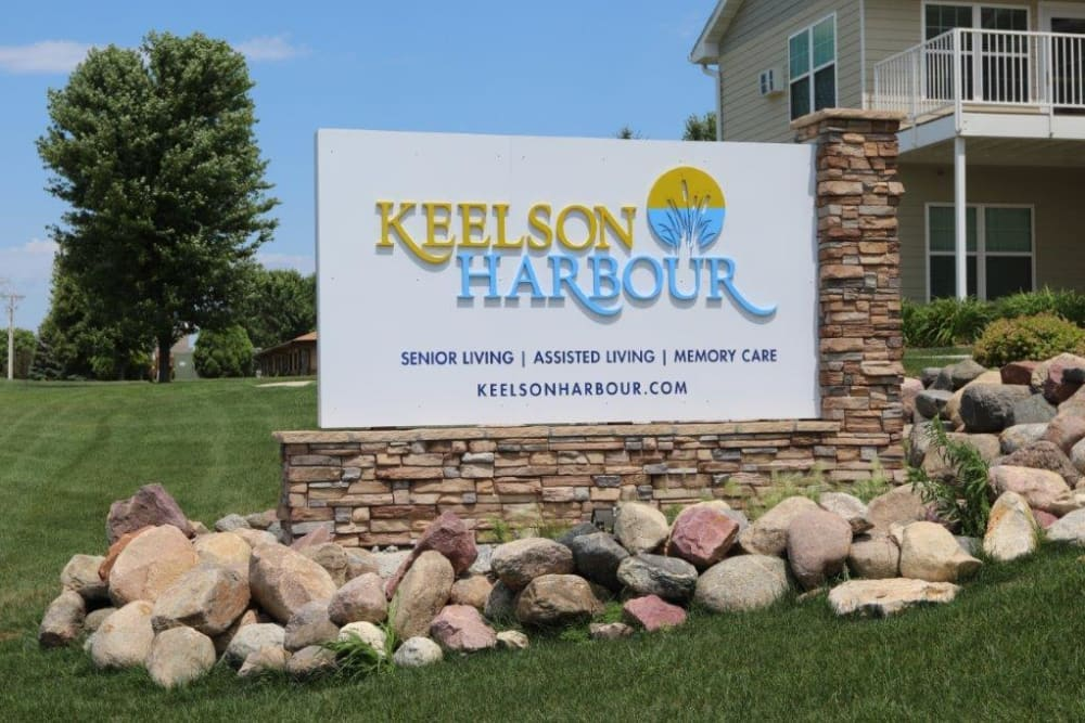 Sign guiding residents to the community at Keelson Harbour in Spirit Lake, Iowa