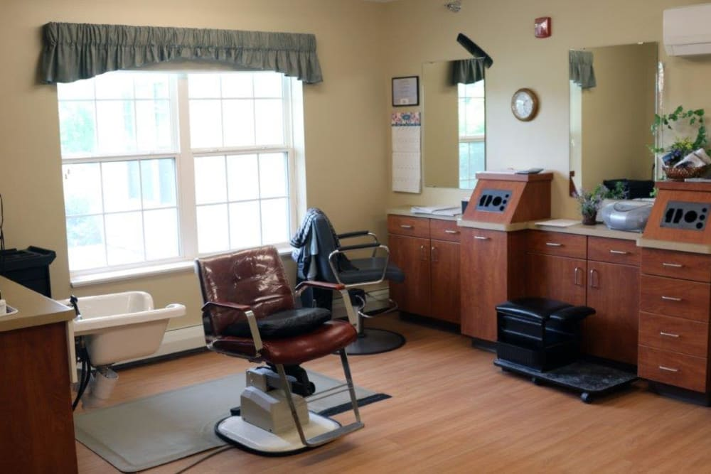 Onsite hair salon for residents of Keelson Harbour in Spirit Lake, Iowa
