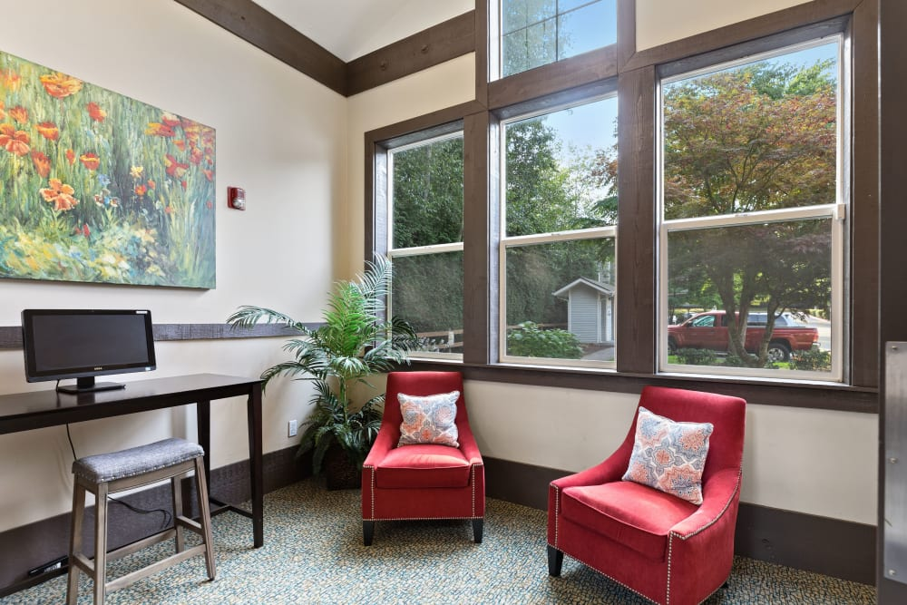 Community common area for resident use at Wildreed Apartments in Everett, Washington