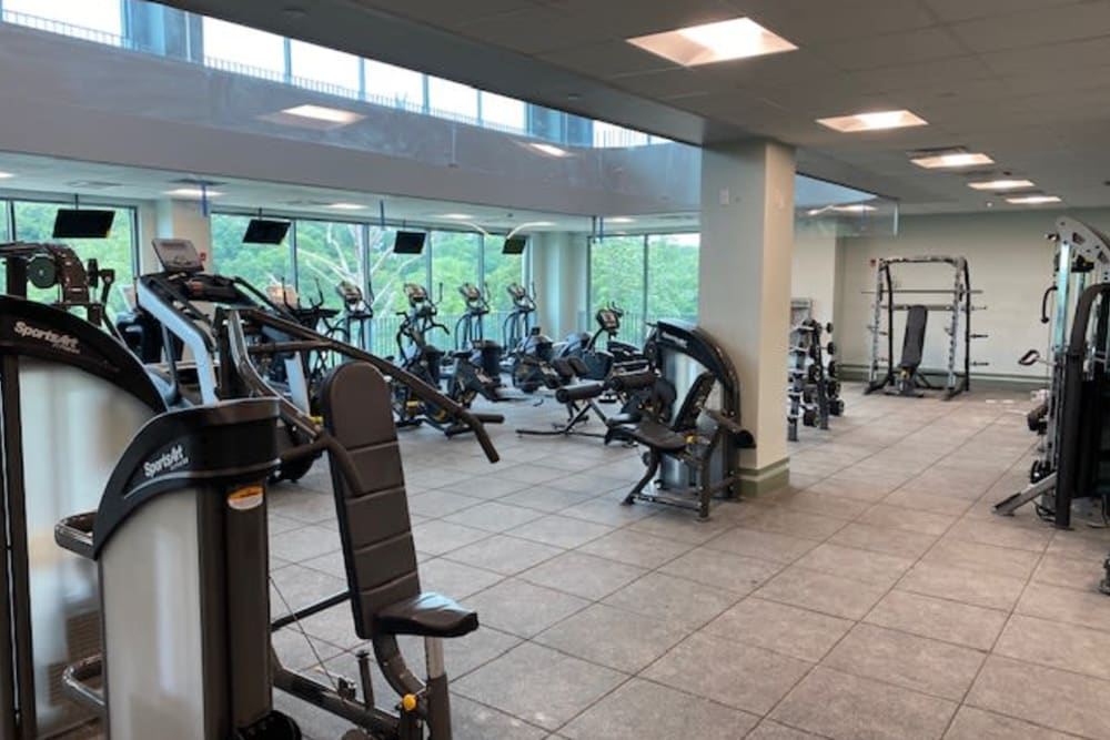 Huge fitness center at Monarch at Ridge Hill in Yonkers, New York