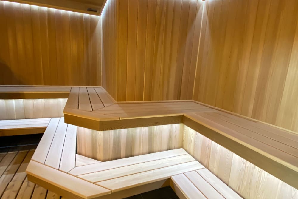 Wooden sauna at Monarch at Ridge Hill in Yonkers, New York
