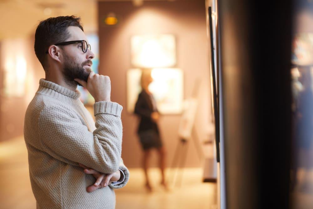 Resident visiting a local art gallery near The Link University City in Philadelphia, Pennsylvania