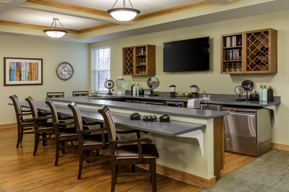 Community kitchen in a lounge at Edencrest at Beaverdale in Des Moines, Iowa