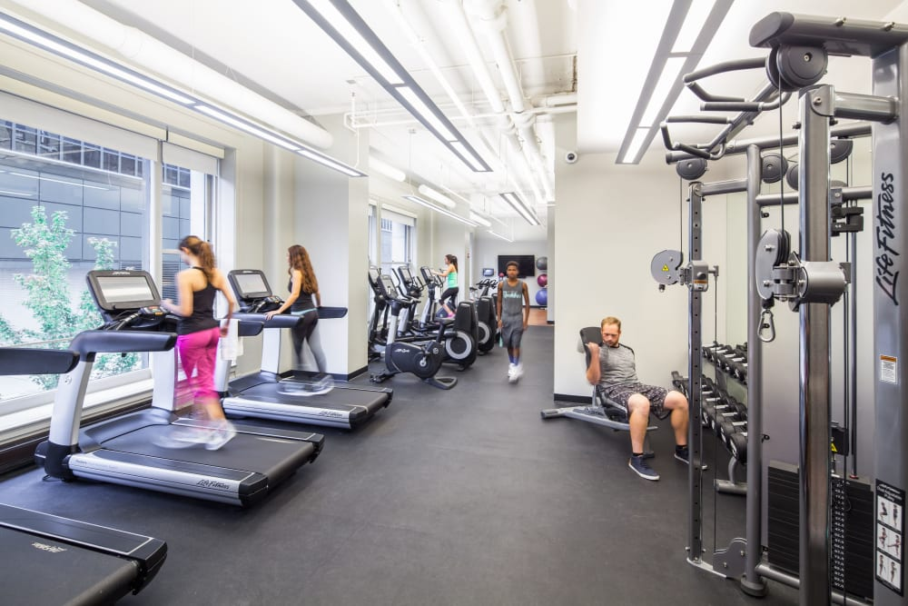 Fully equipped fitness center at Arc at Old Colony in Chicago, Illinois