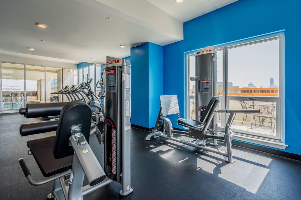 Exercise machines at 21 Rio's fitness center 21 Rio in Austin, Texas