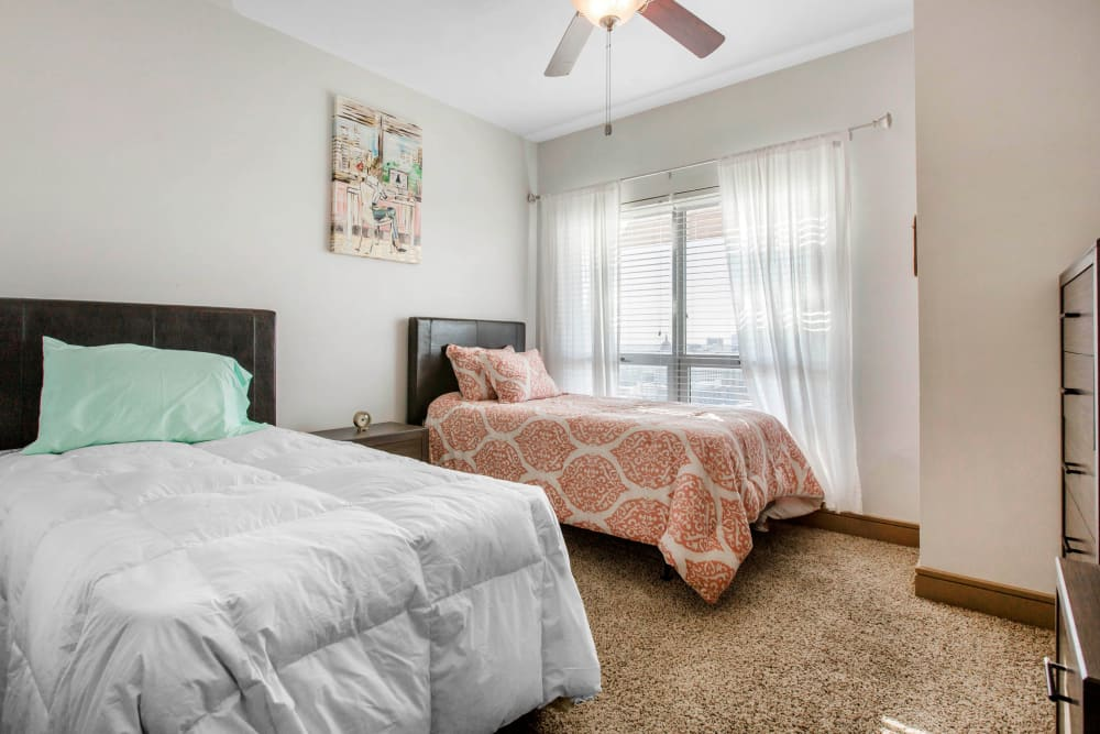 Spacious bedroom with room for two at 21 Rio in Austin, Texas
