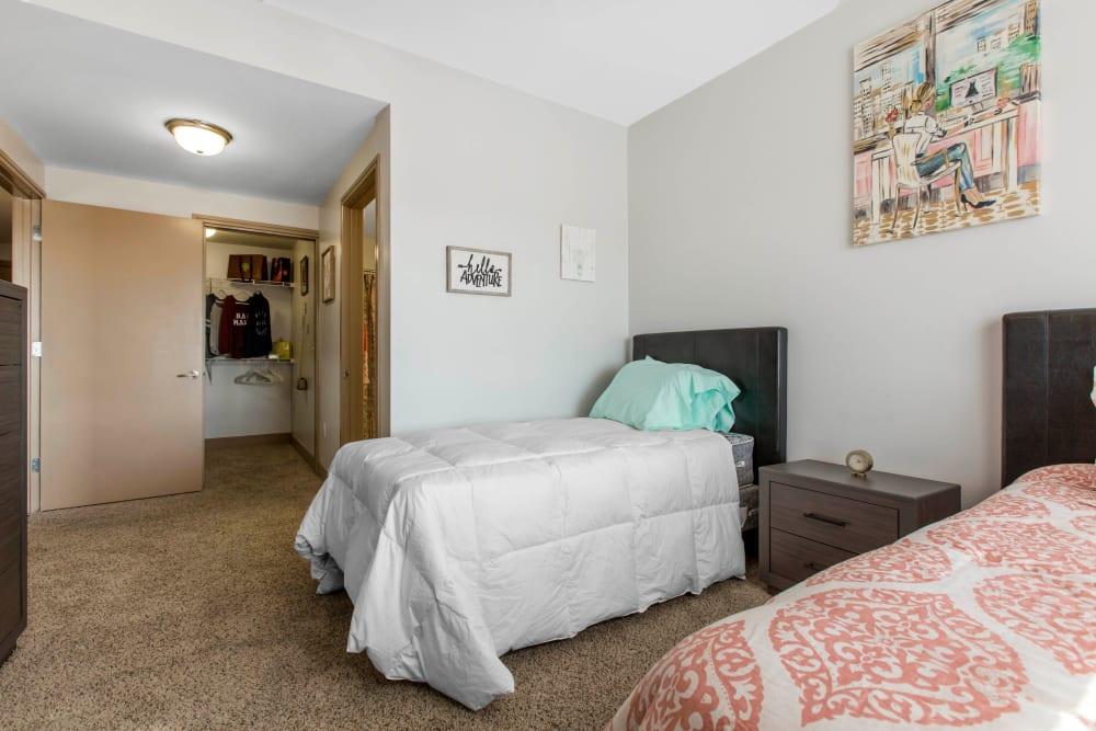 Cozy bedroom at 21 Rio in Austin, Texas
