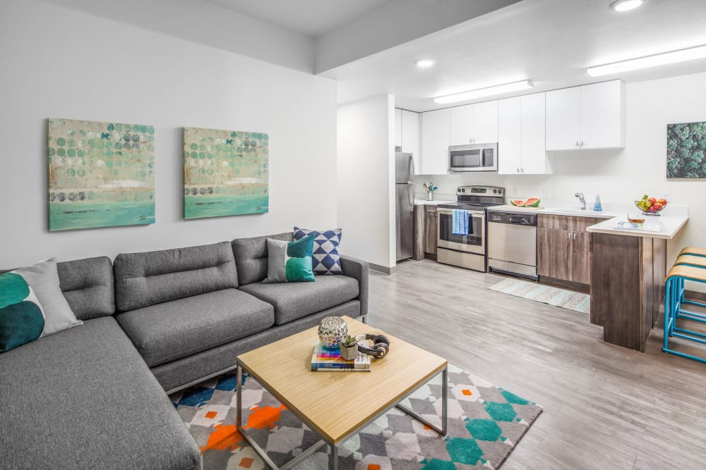 Bright, spacious living room at Social 28 in Gainesville, Florida