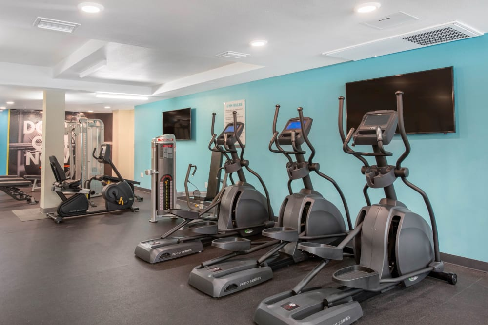 Fitness center at Social 28 in Gainesville, Florida