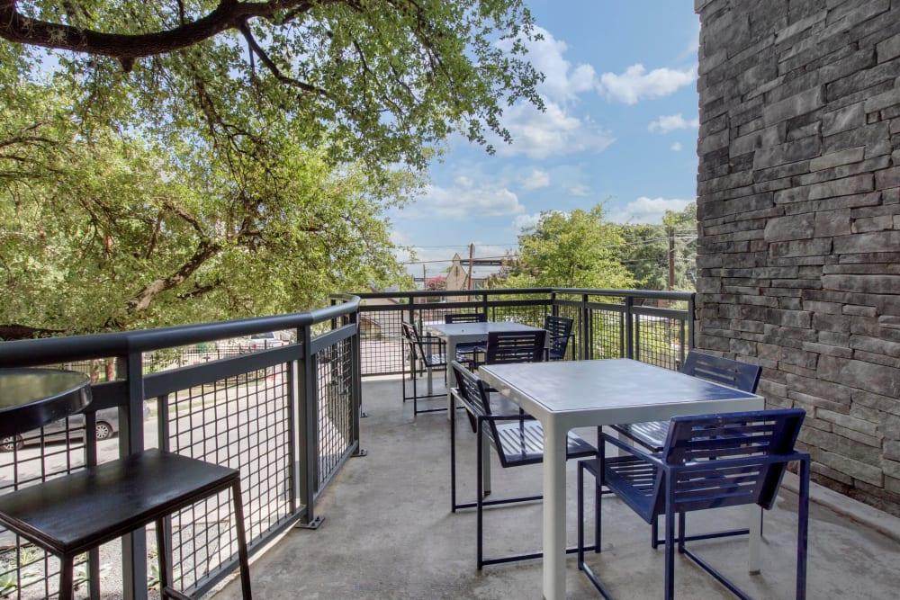 Outdoor patio at Texan 26 in Austin, Texas