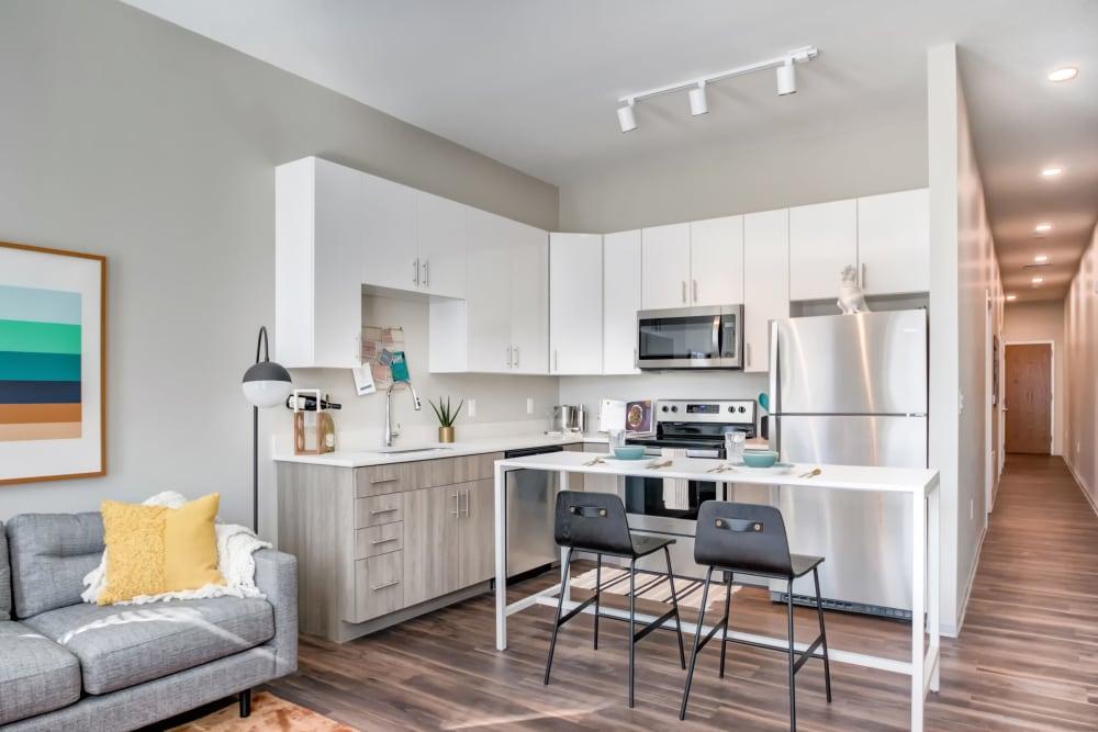 Spacious, sleek kitchen at The Link University City in Philadelphia, Pennsylvania