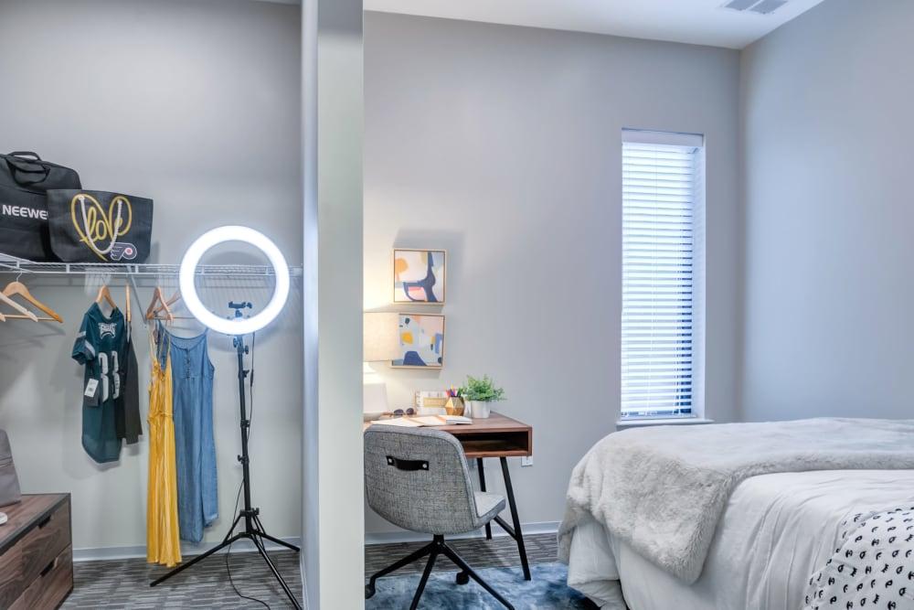 Spacious bedroom at The Link University City in Philadelphia, Pennsylvania