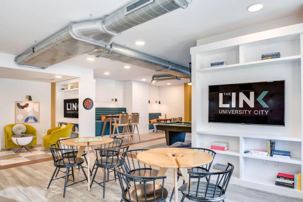 Community study room at The Link University City in Philadelphia, Pennsylvania