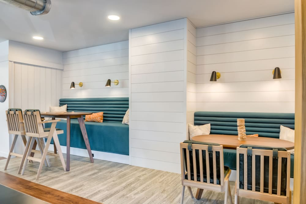 Clubroom dining space at The Link University City in Philadelphia, Pennsylvania