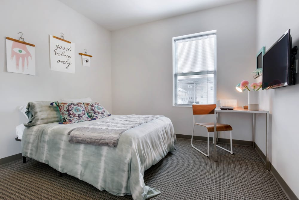 Bright bedroom at West Quad in Champaign, Illinois