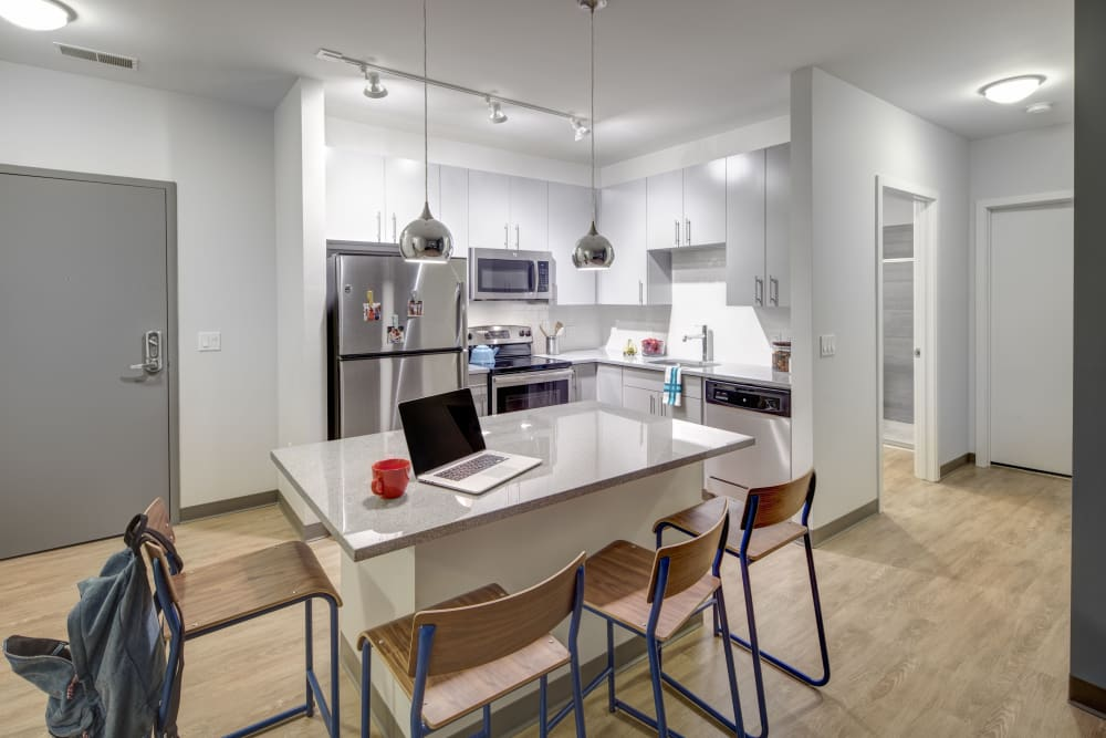 Fully equipped kitchen at West Quad in Champaign, Illinois