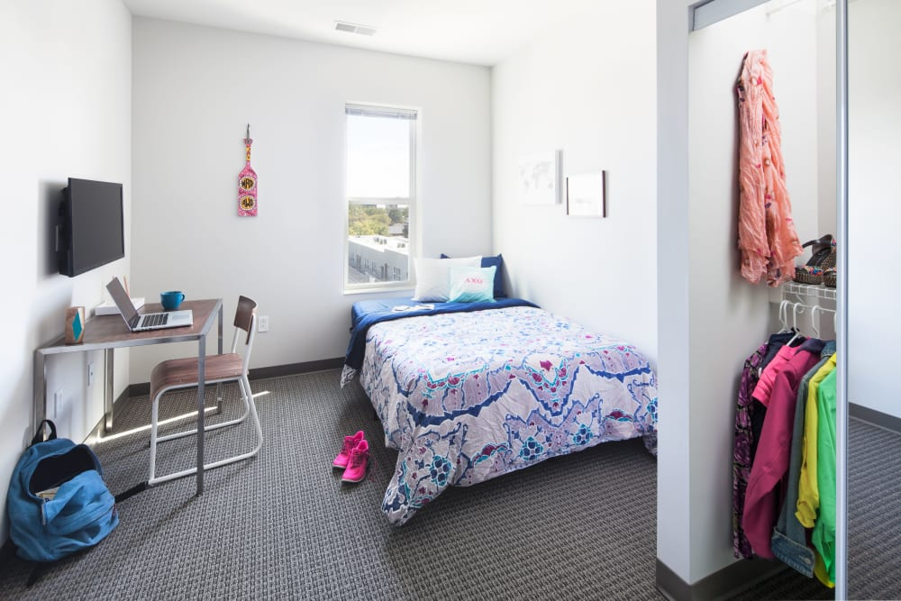Cozy bedroom at West Quad in Champaign, Illinois