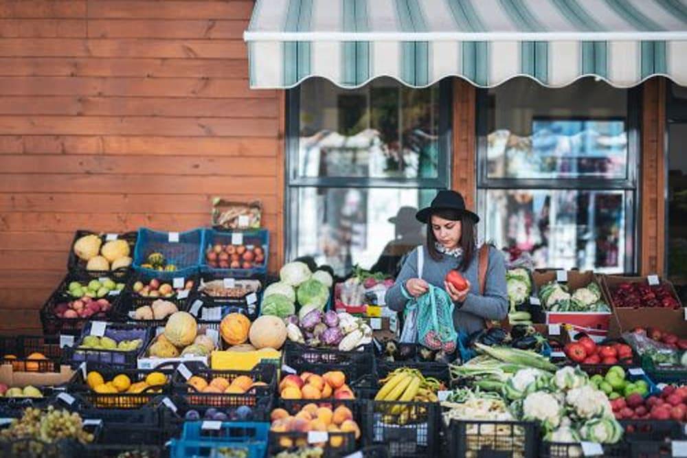 Resident shopping for produce in Evanston, Illinois near The Link Evanston