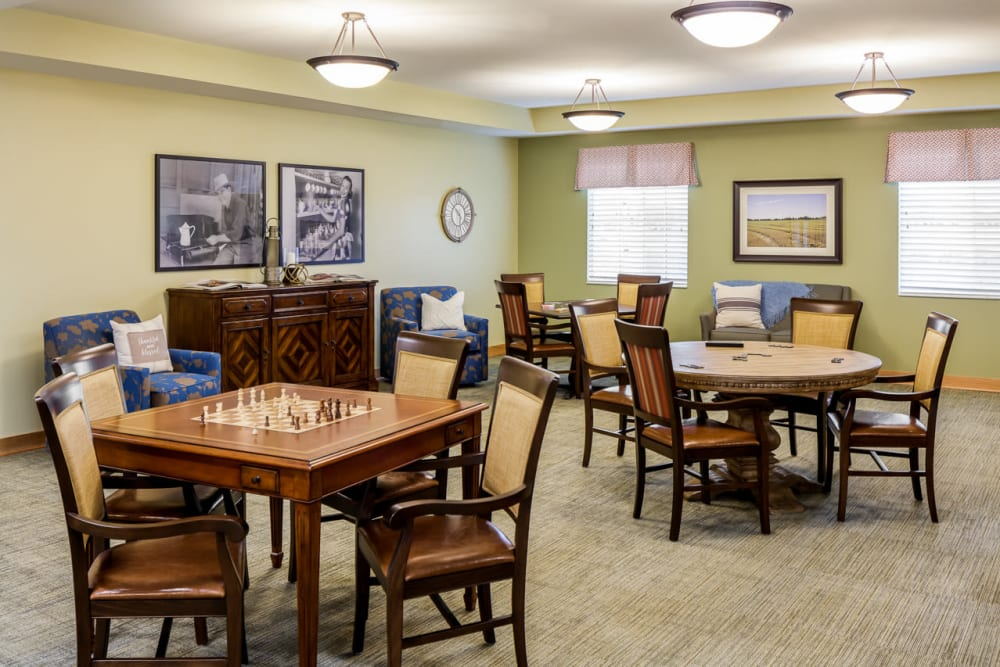Game room with lots of activities for seniors at Edencrest at Siena Hills in Ankeny, Iowa