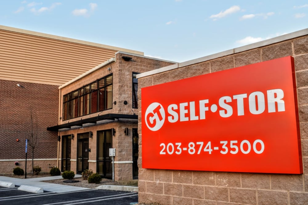 Front entry sign at CT SELF-STOR