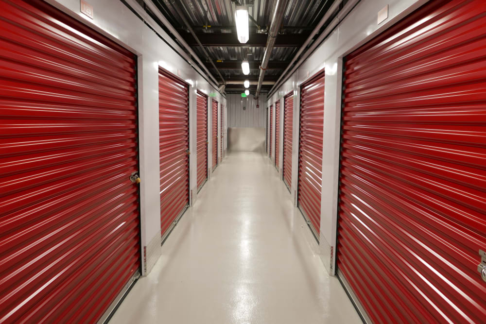 Row of larger interior units at CT SELF-STOR
