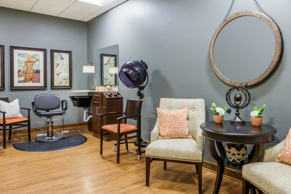 On-site hair salon at Edencrest at The Legacy in Norwalk, Iowa