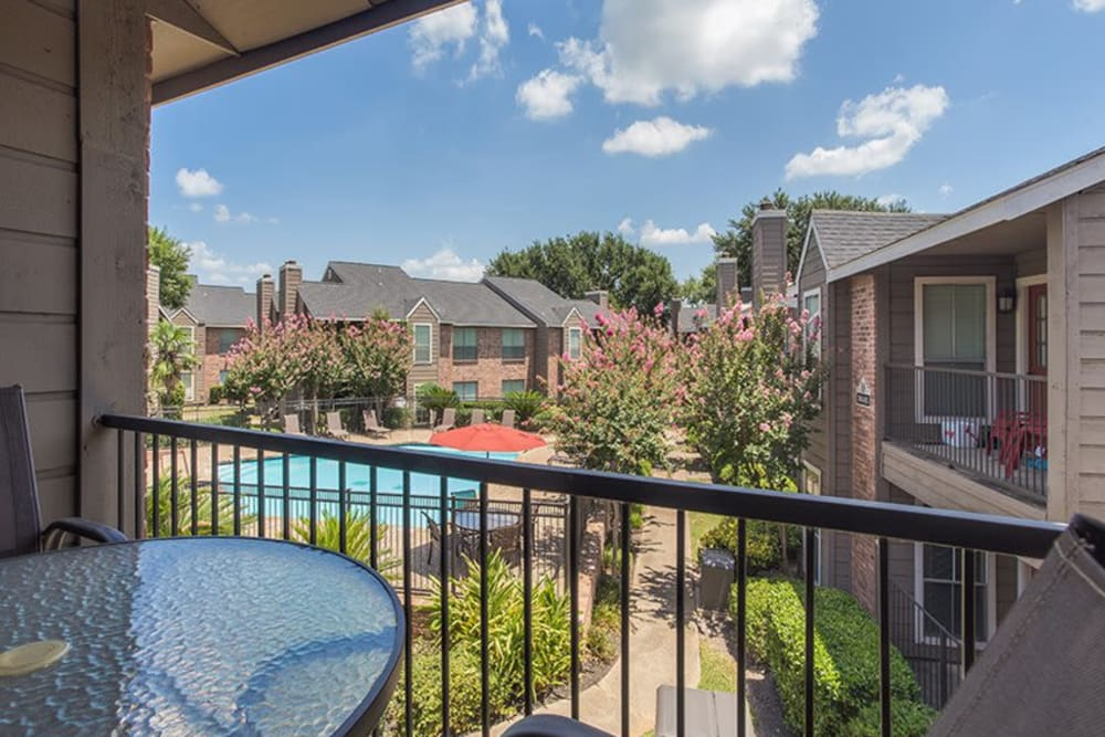 Beautiful pool view from private balcony at Broadstone Briar Forest in Houston, Texas
