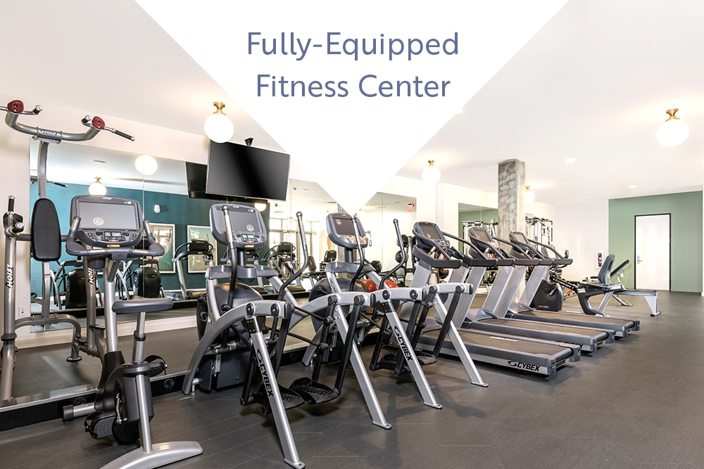 Well-equipped onsite fitness center at Mission Hills in Camarillo, California