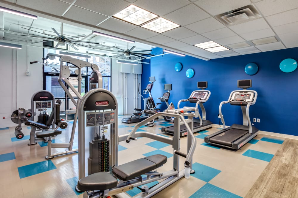 Bright fitness center at The Fleetwood in Tempe, Arizona