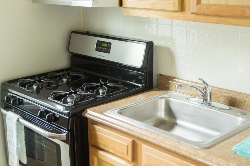 Large kitchen sink and gas range at Ivy Crossing at Catonsville in Catonsville, Maryland