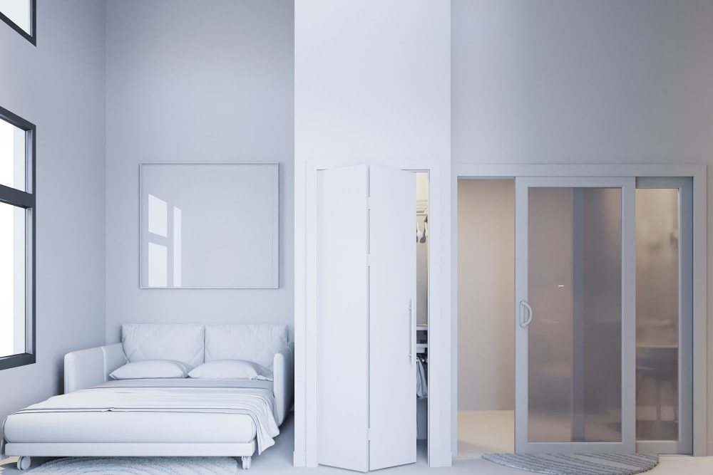 Bedroom area rendering of a studio home at Ascend in Portland, Oregon