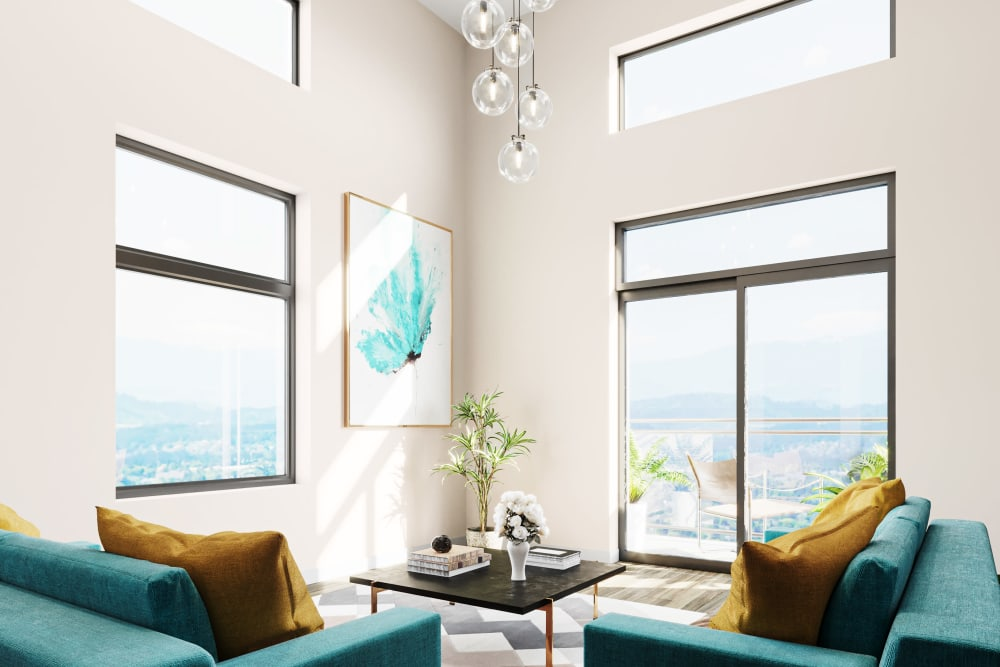 Gorgeous city views from a rendering of the living space in a model home at Ascend in Portland, Oregon