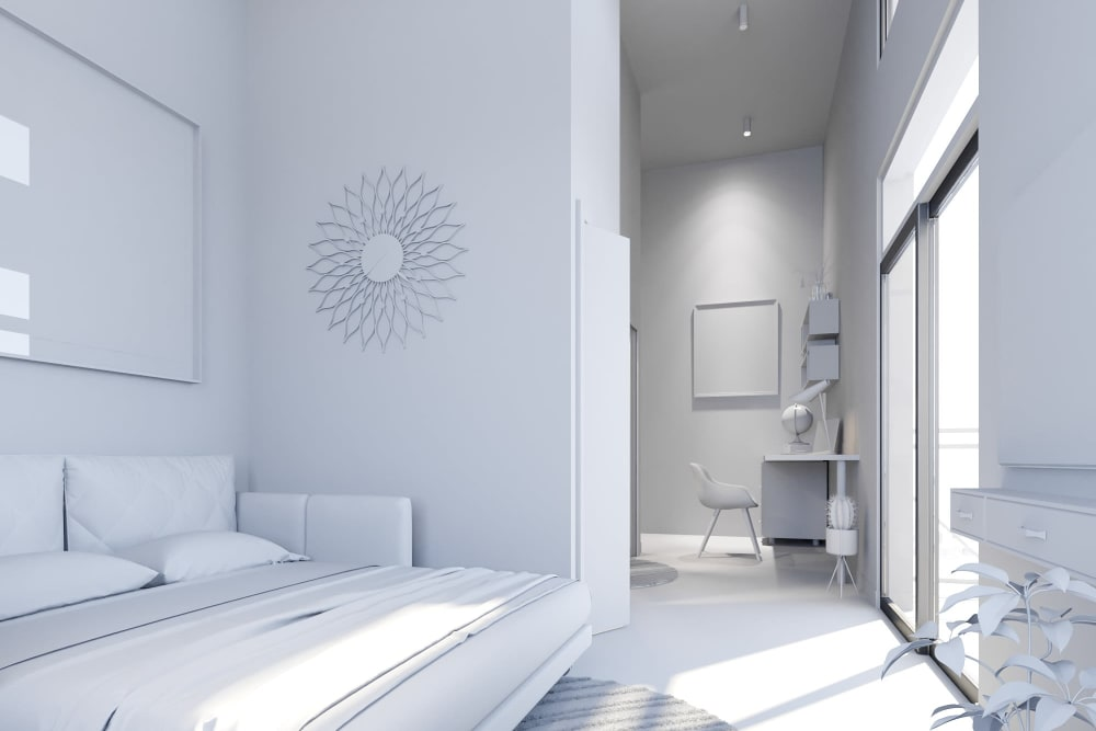 Rendering of a loft home with a white theme at Ascend in Portland, Oregon