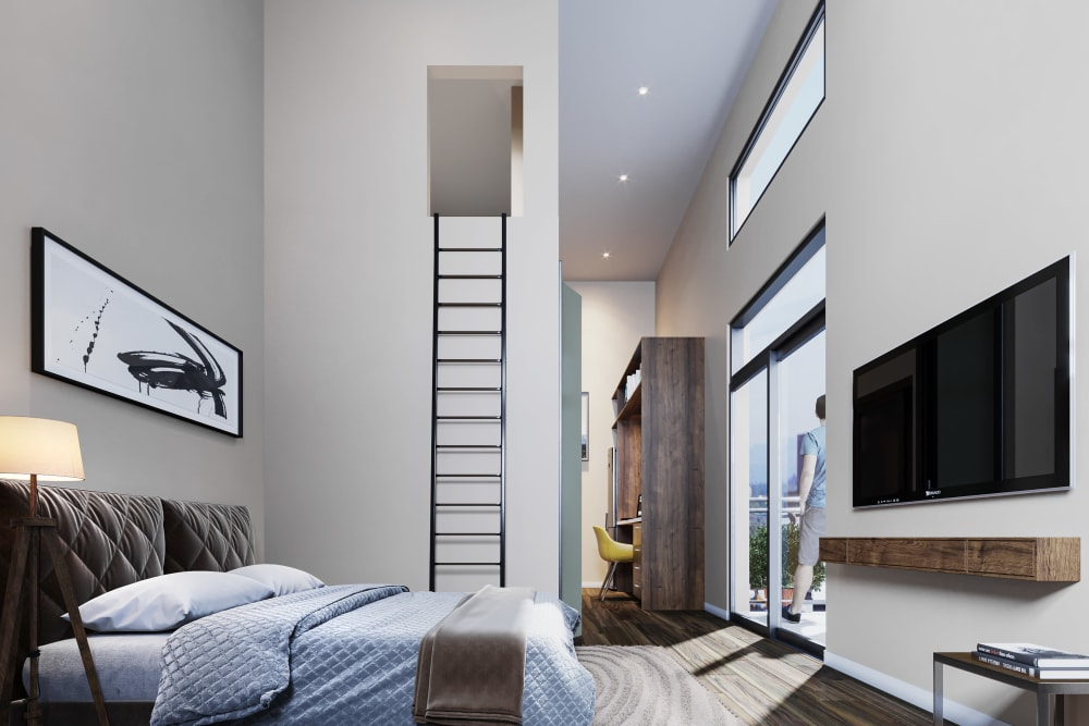 Rendering of the bedroom area in a loft home at Ascend in Portland, Oregon
