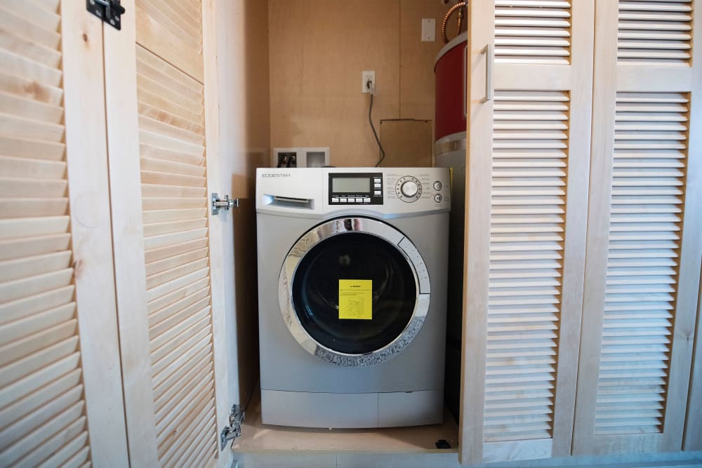 Energy-efficient washer and dryer in a model home at Brooklyn Yard in Portland, Oregon