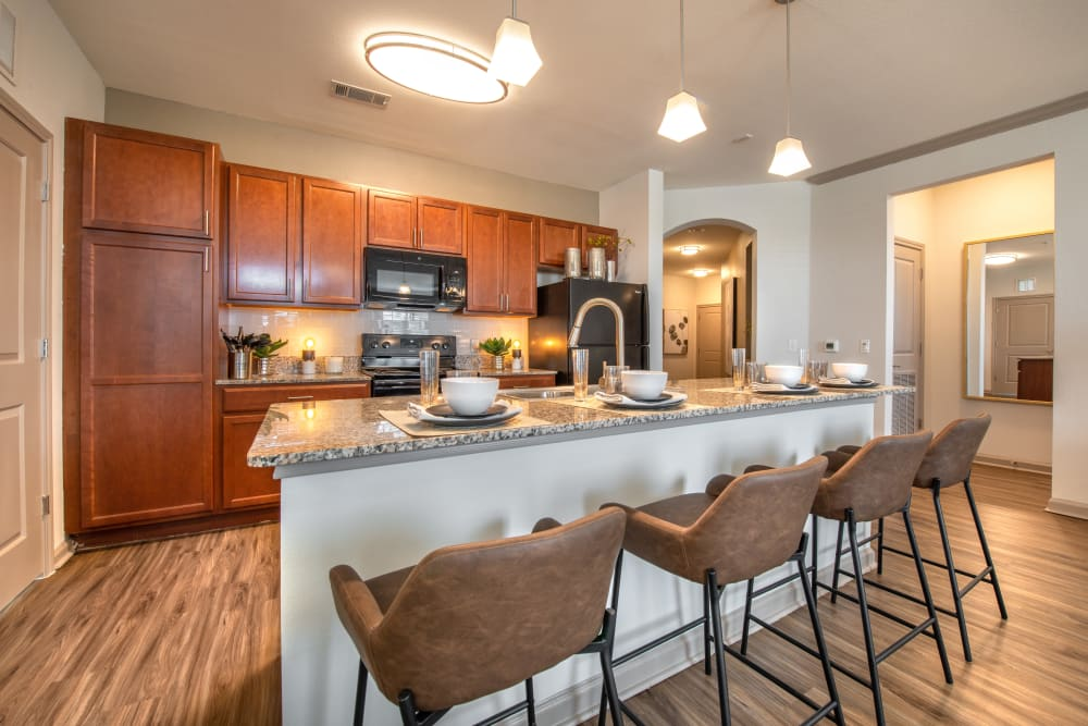Model kitchen at Olympus Katy Ranch in Katy, TX