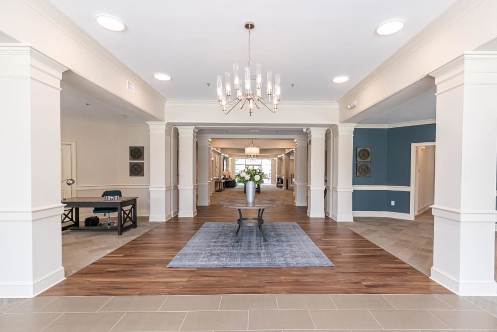 Classically architected and welcoming lobby interior at The Station at River Crossing in Macon, Georgia