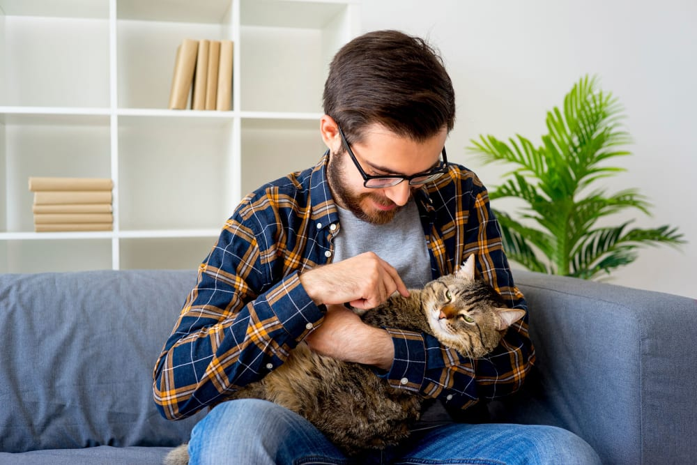 Student resident holding his cat at HERE Atlanta in Atlanta, Georgia near Georgia Tech