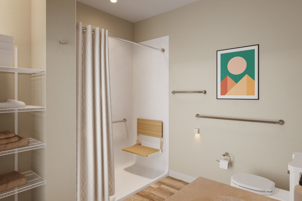 Memory care model bathroom atAtivo Senior Living of Yuma in Yuma, Arizona