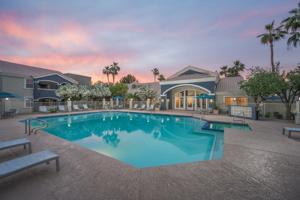 Gorgeous pool at night at The Sterling in Gilbert, Arizona